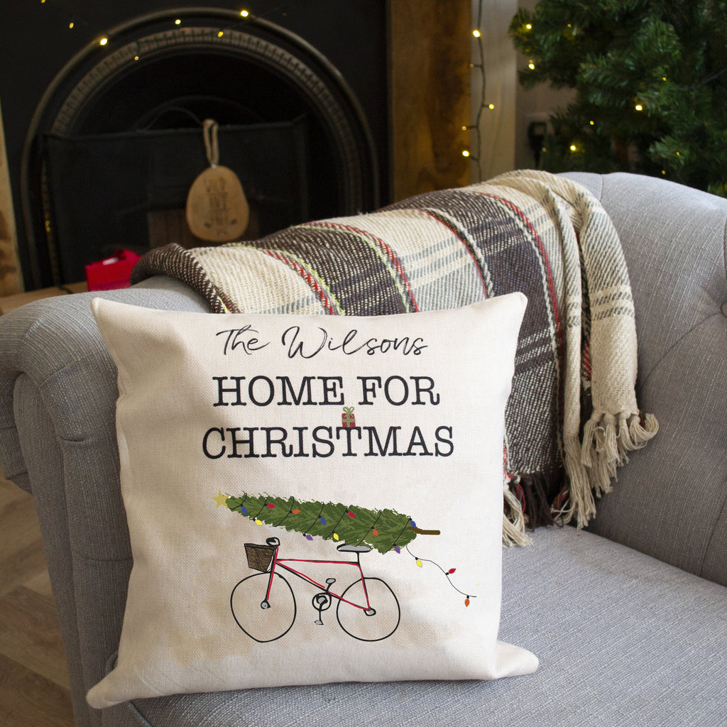 Personalised Home For Christmas Bike Cushion