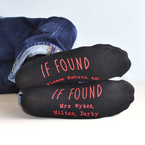 If Found, Personalised Socks, socks, - ALPHS