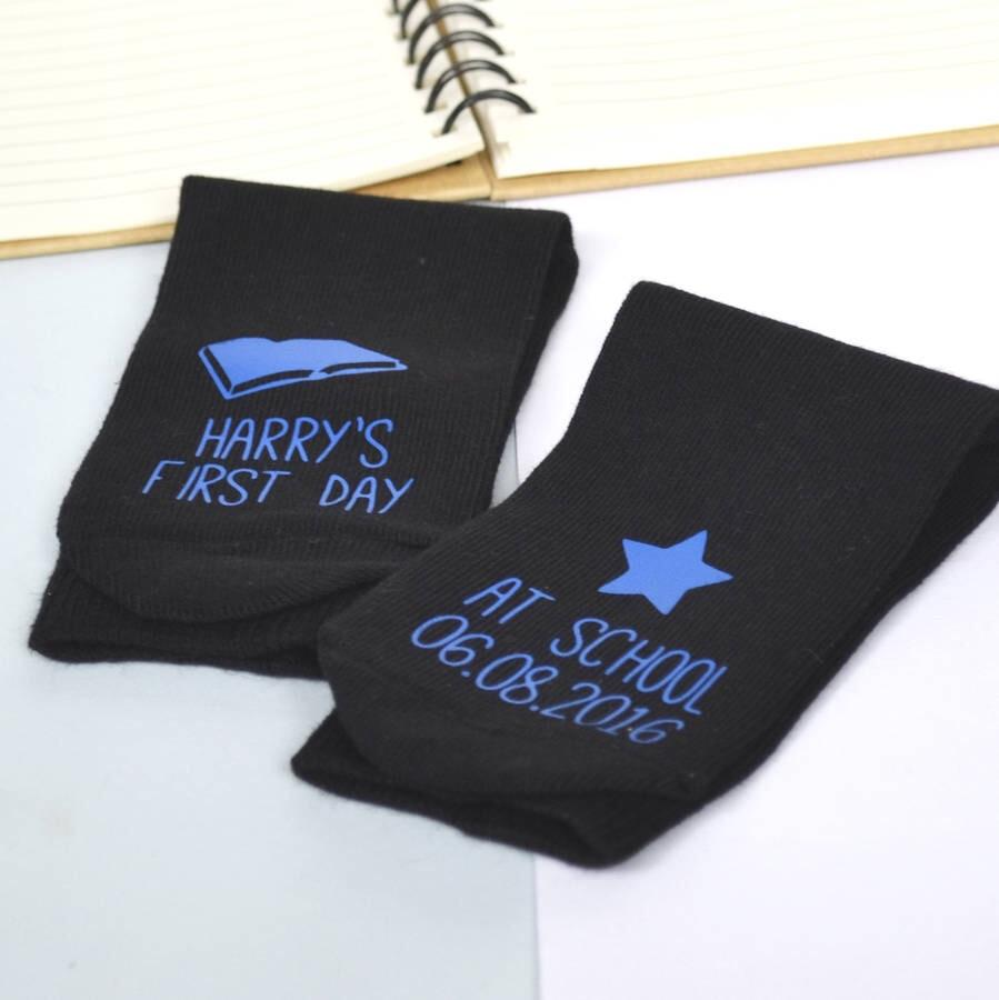 First Day At School Personalised Socks, , - ALPHS