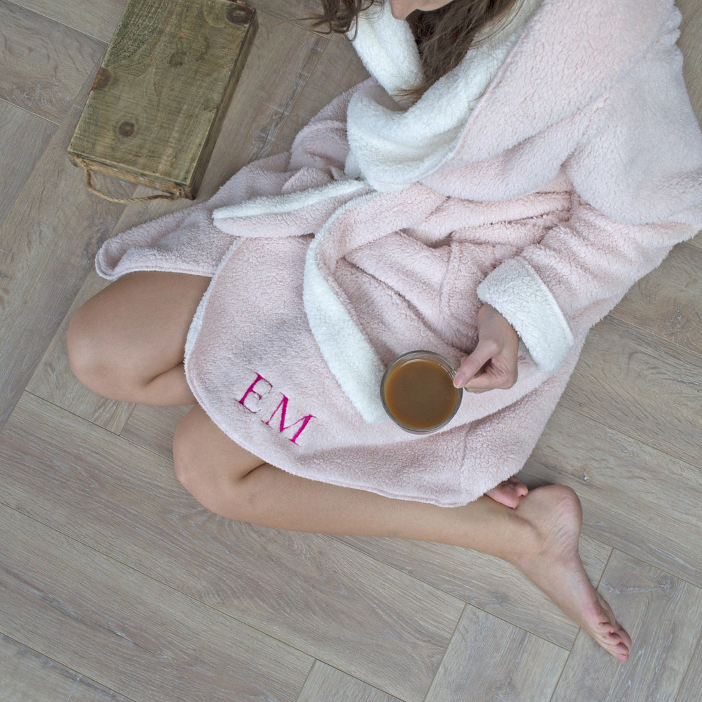 Personalised Reversible Super Soft Dressing Gown, Nightwear, - ALPHS