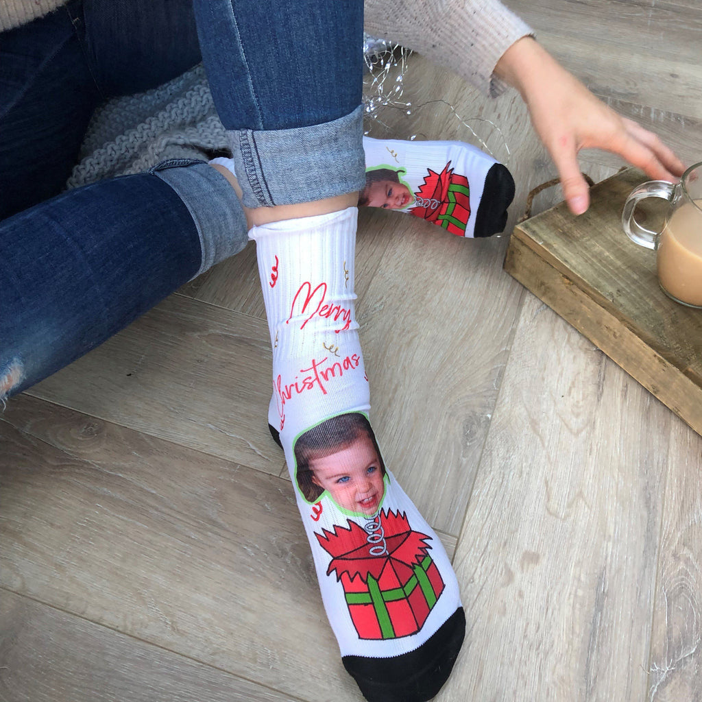 Suprise Present Christmas Personalised Photo Socks