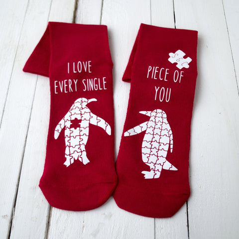 Love You To Pieces Penguin Jigsaw Socks