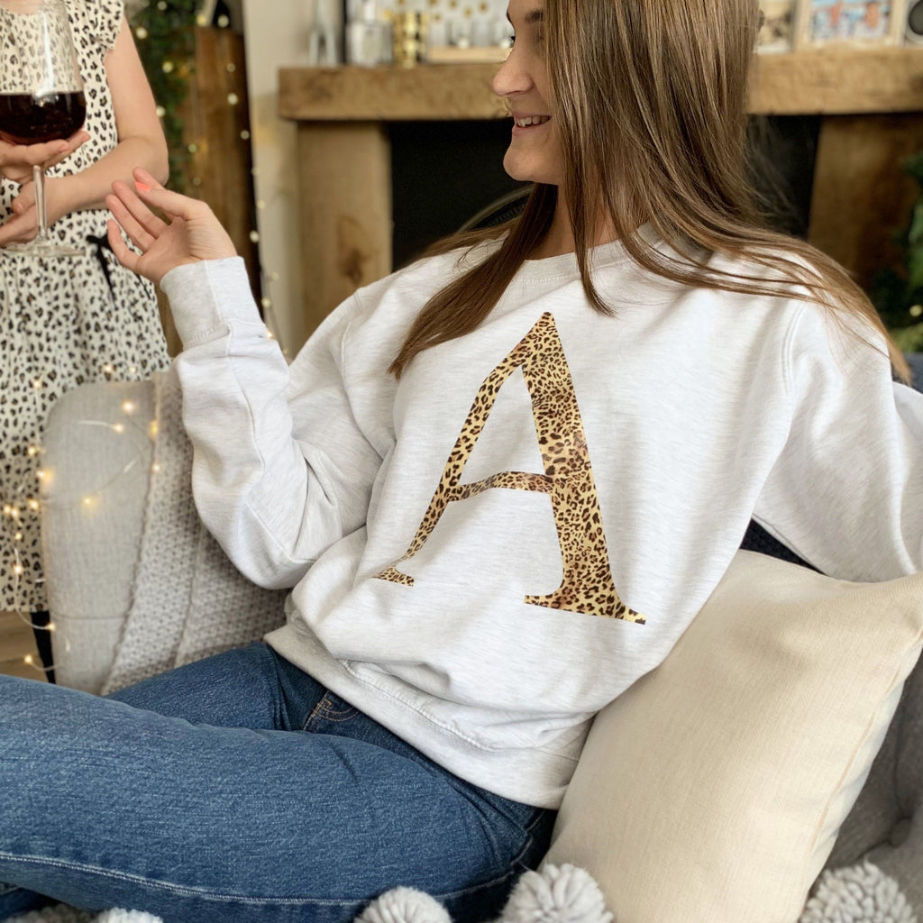 Personalised Leopard Print Initial Jumper