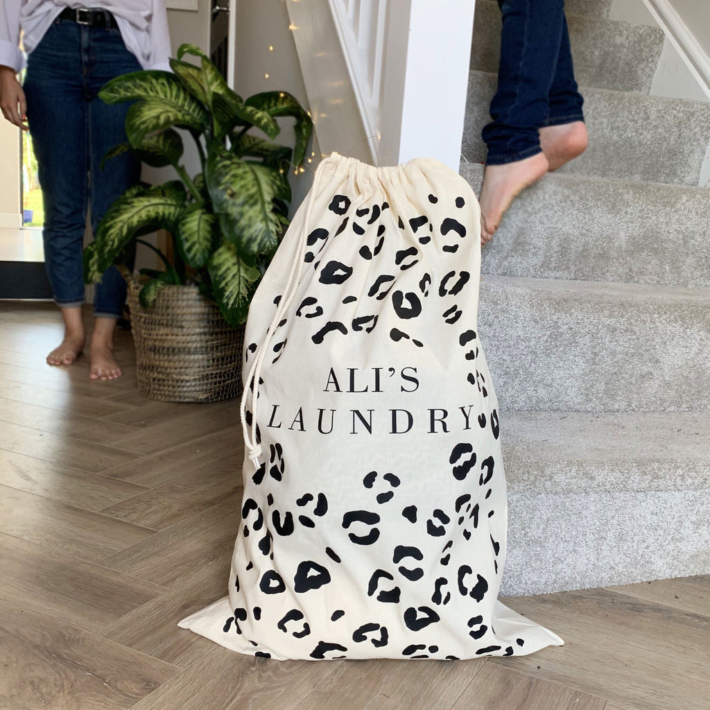 Personalised Leopard Print Laundry Bag, Laundry Bag, - ALPHS
