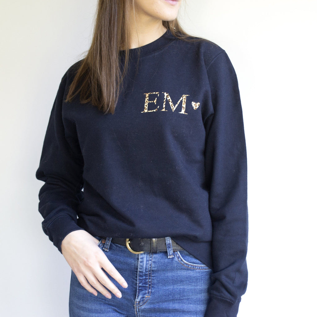 Personalised Leopard Print Monogram Sweatshirt, Jumper, - ALPHS