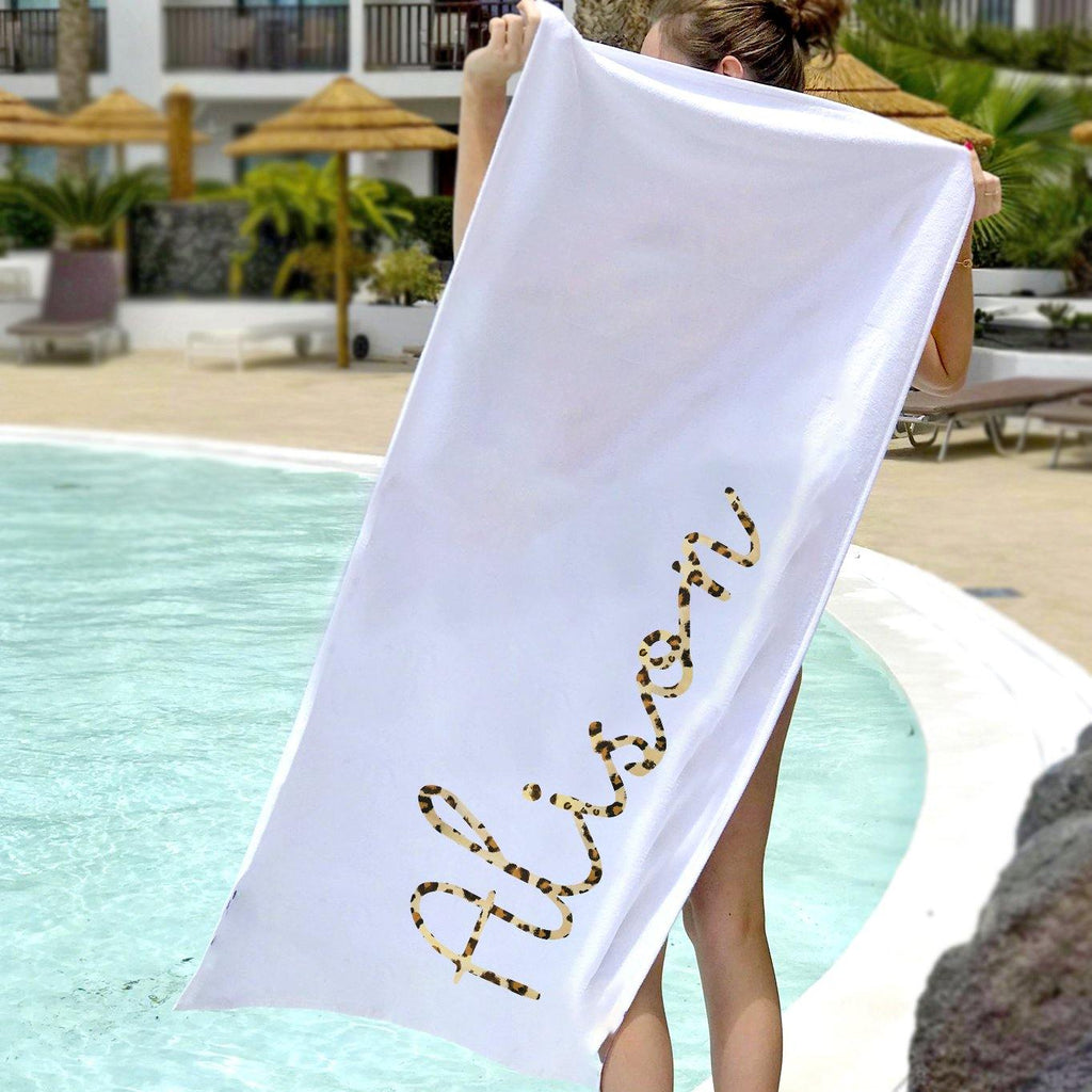 Personalised Leopard Print Towel, Beach Towel, - ALPHS