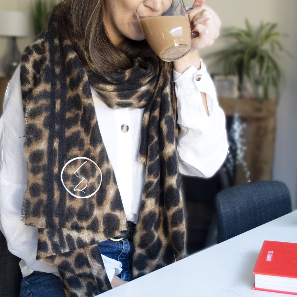 Personalised Leopard Print Winter Scarf