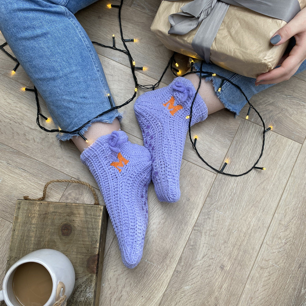 Embroidered Knitted Slipper Socks