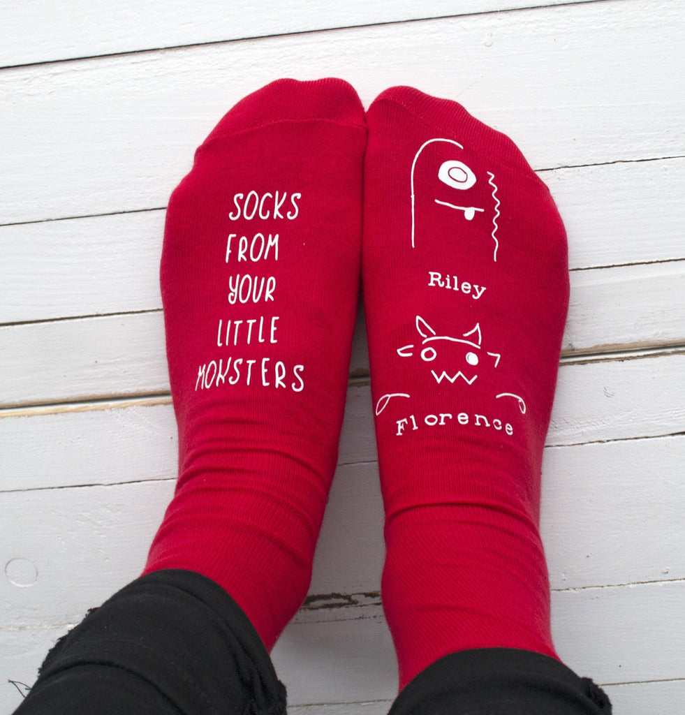 Little Monster Personalised Socks, Personalised Socks, - ALPHS