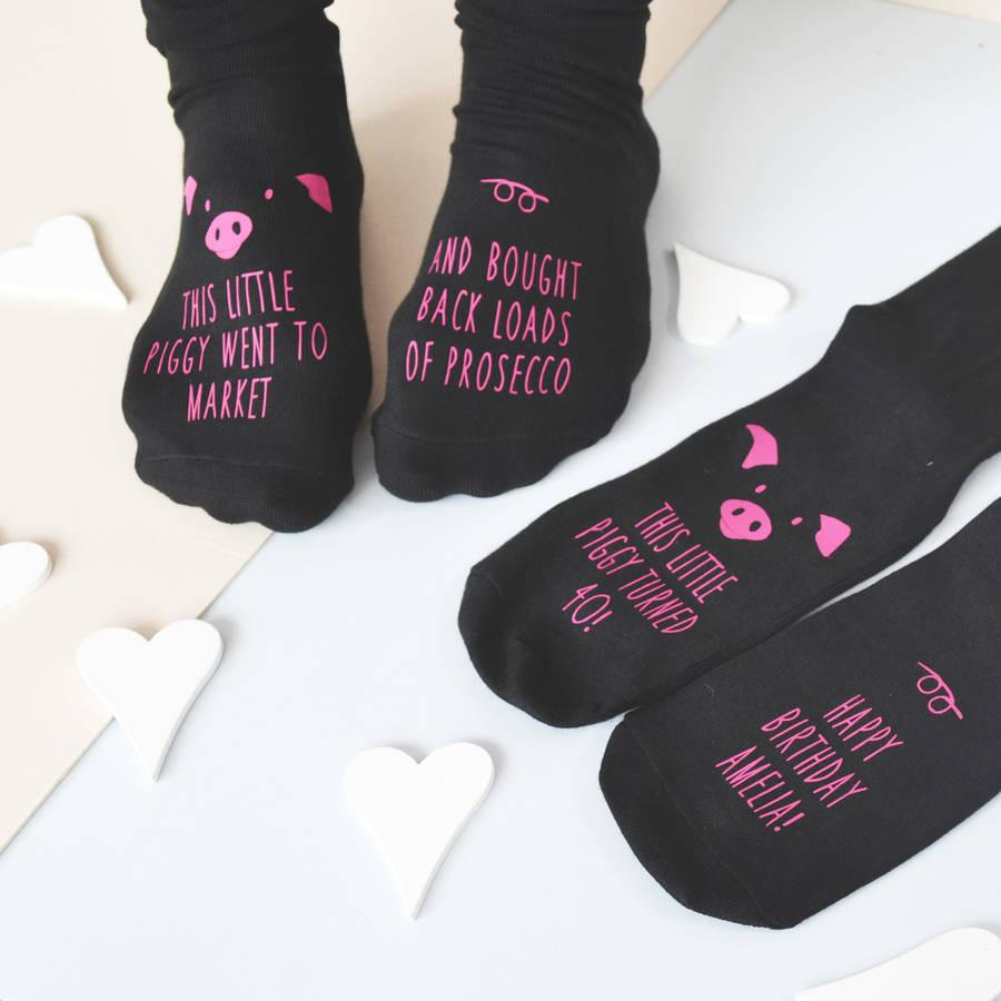 This Little Piggy… Personalised Prosecco Socks - ALPHS  - 2