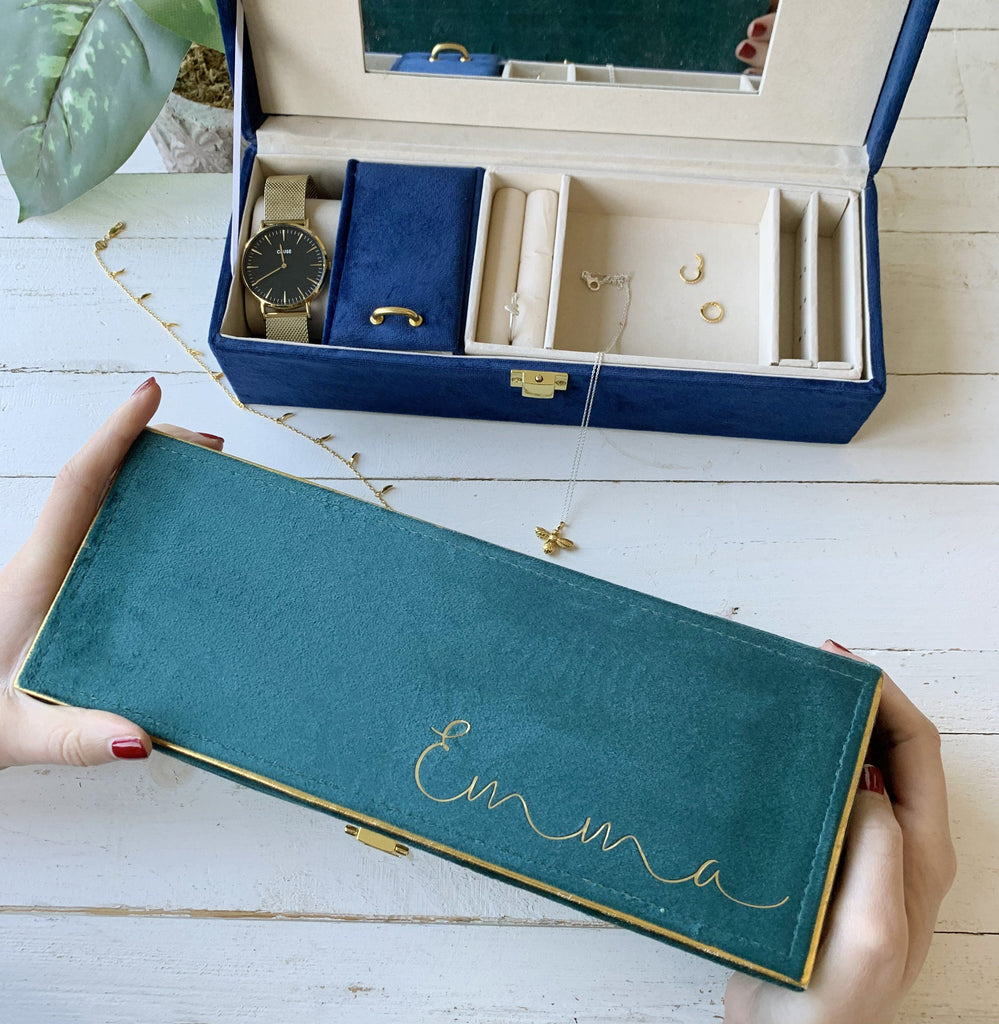 Personalised Jewellery Box In Velvet And Gold, jewellery box, - ALPHS
