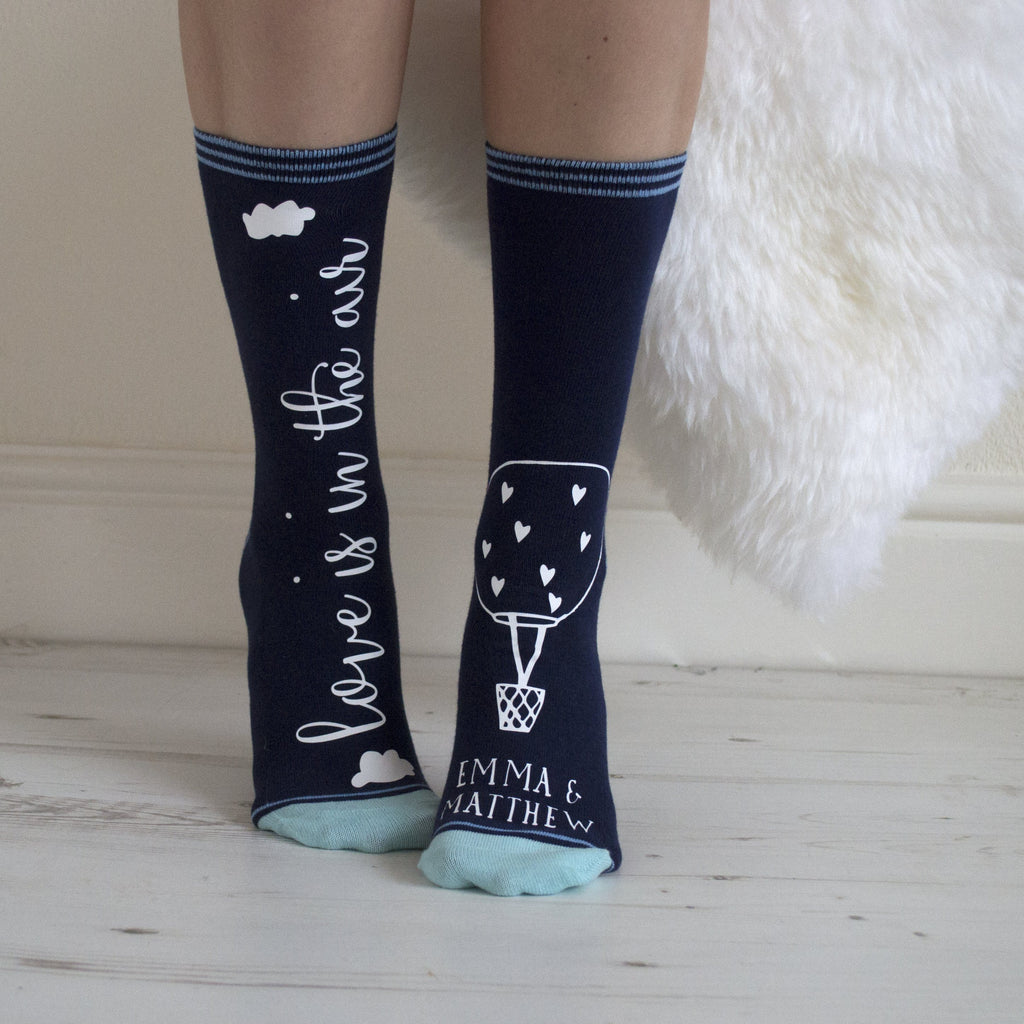 Love Is In The Air Personalised Luxury Socks, Socks, - ALPHS