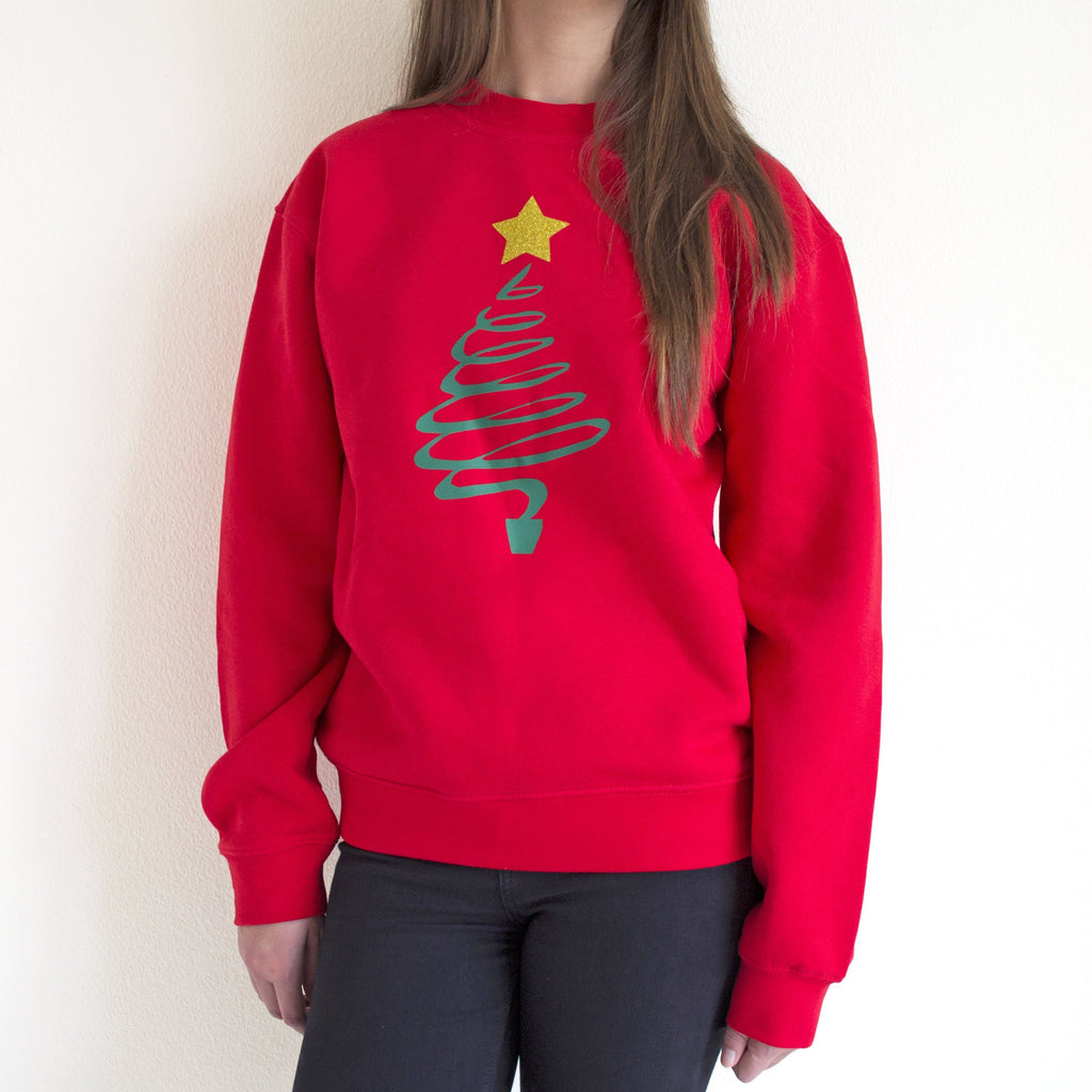 Christmas Tree Jumper with Glitter Star, Jumper, Christmas, - ALPHS