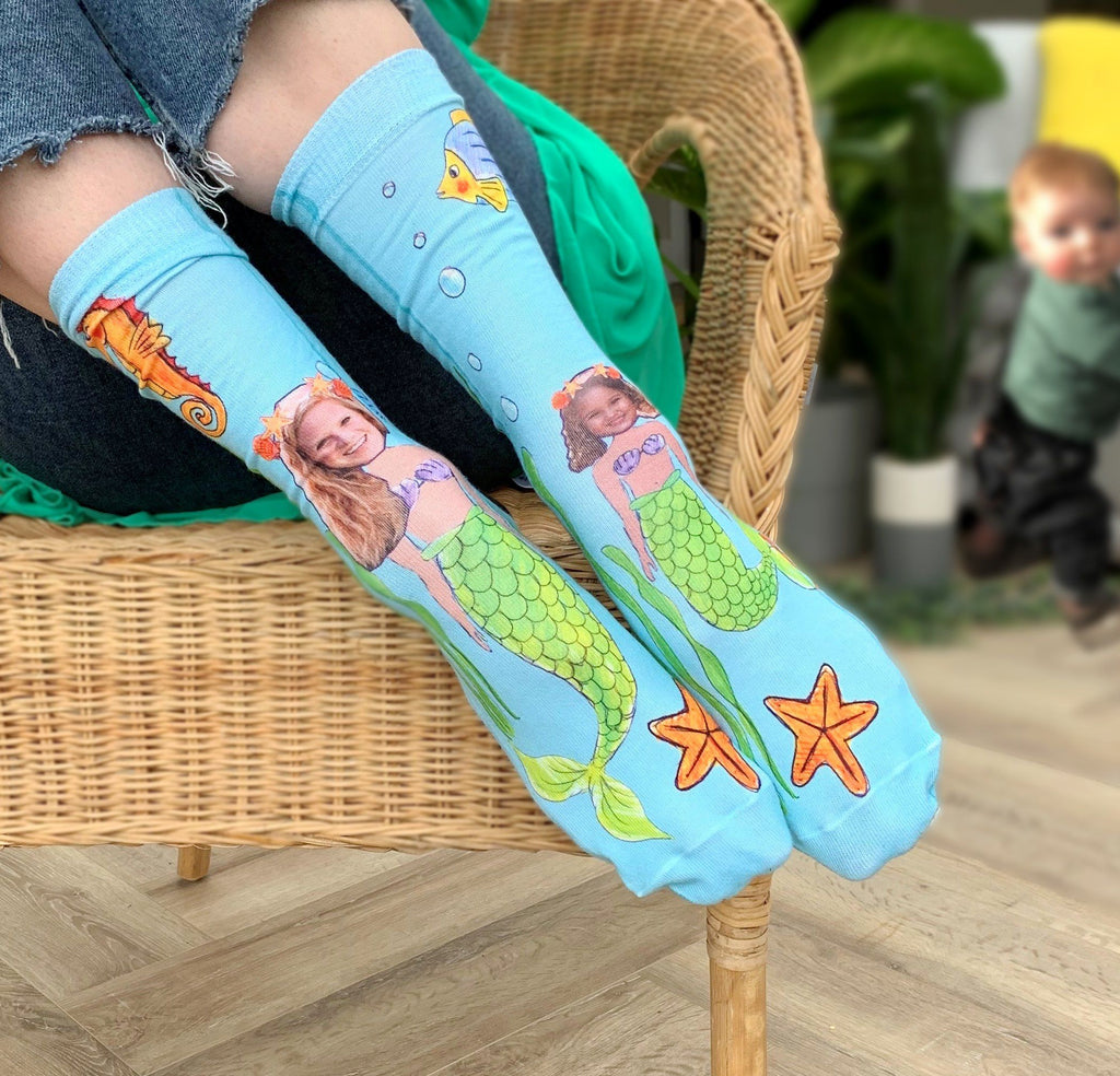 Personalised Mummy and Me Mermaid Photo Socks, socks, - ALPHS
