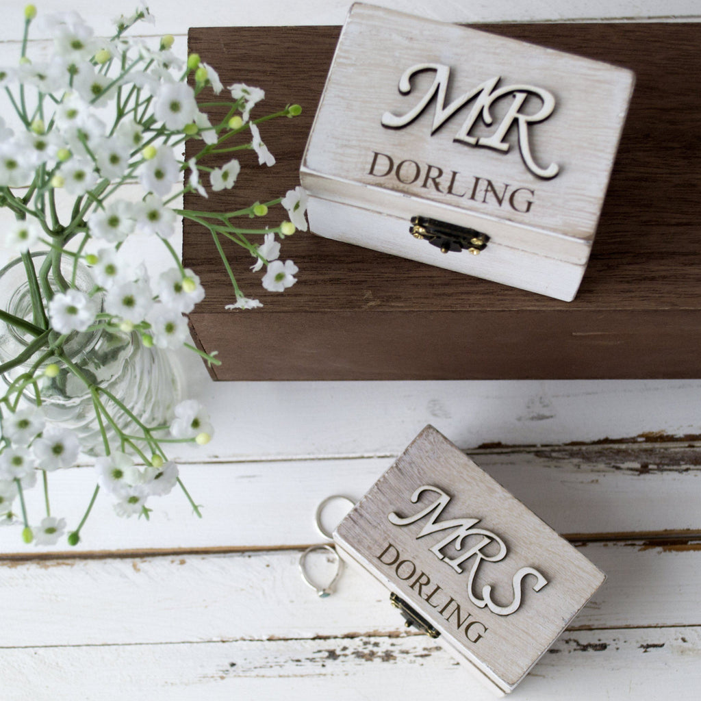 Personalised Mr And Mrs Wedding Ring Boxes, jewellery box, - ALPHS