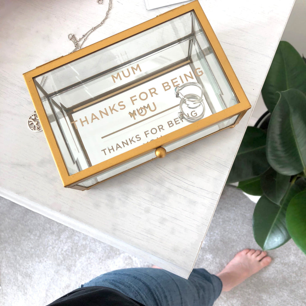 Personalised Gold and Glass Jewellery Box, jewellery box, - ALPHS