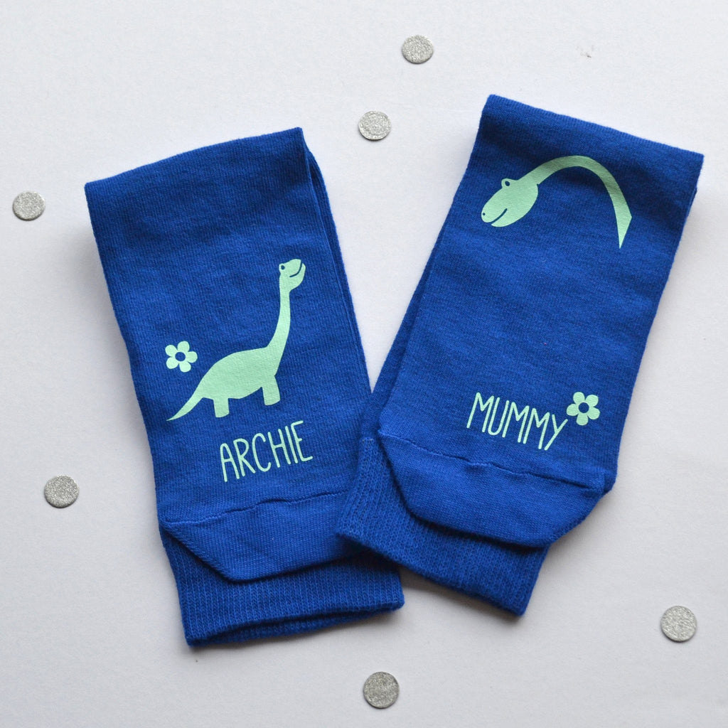 Personalised Socks - Mummy and Me Dinosaurs, Socks, - ALPHS