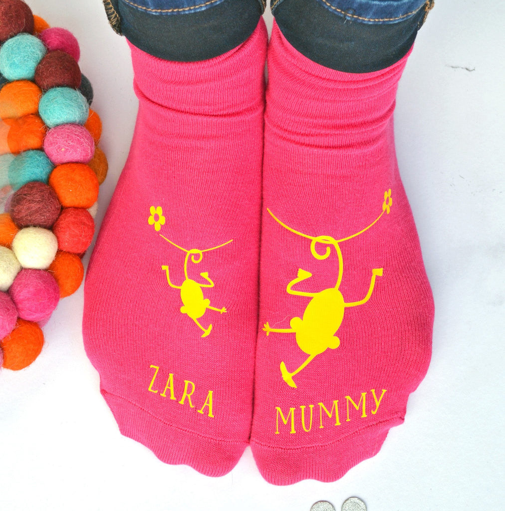 Cheeky Monkey and Mummy Personalised Socks, Socks, - ALPHS