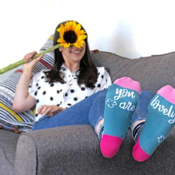 You Are Lovely Patterned Slogan Socks