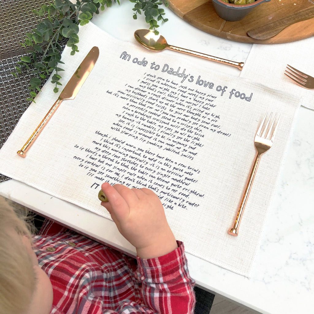 An Ode To Food Personalised Poem Placemat, Placemat, - ALPHS