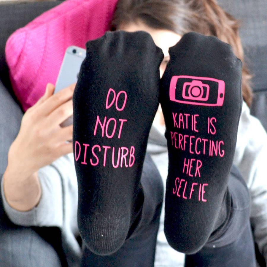 Do Not Disturb Selfie Socks, socks, - ALPHS