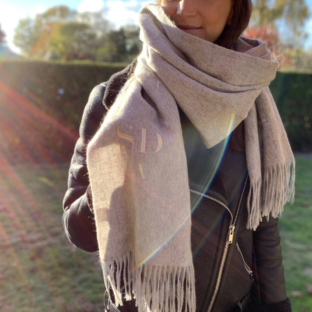 Embroidered Lambswool Blanket Scarf, scarf, - ALPHS