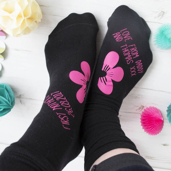First Mother's Day Personalised Socks - Floral
