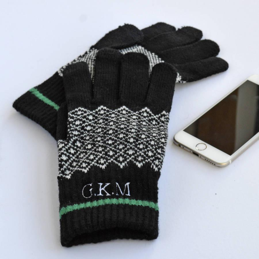 Monogram Touchscreen Gloves, Accessories, - ALPHS
