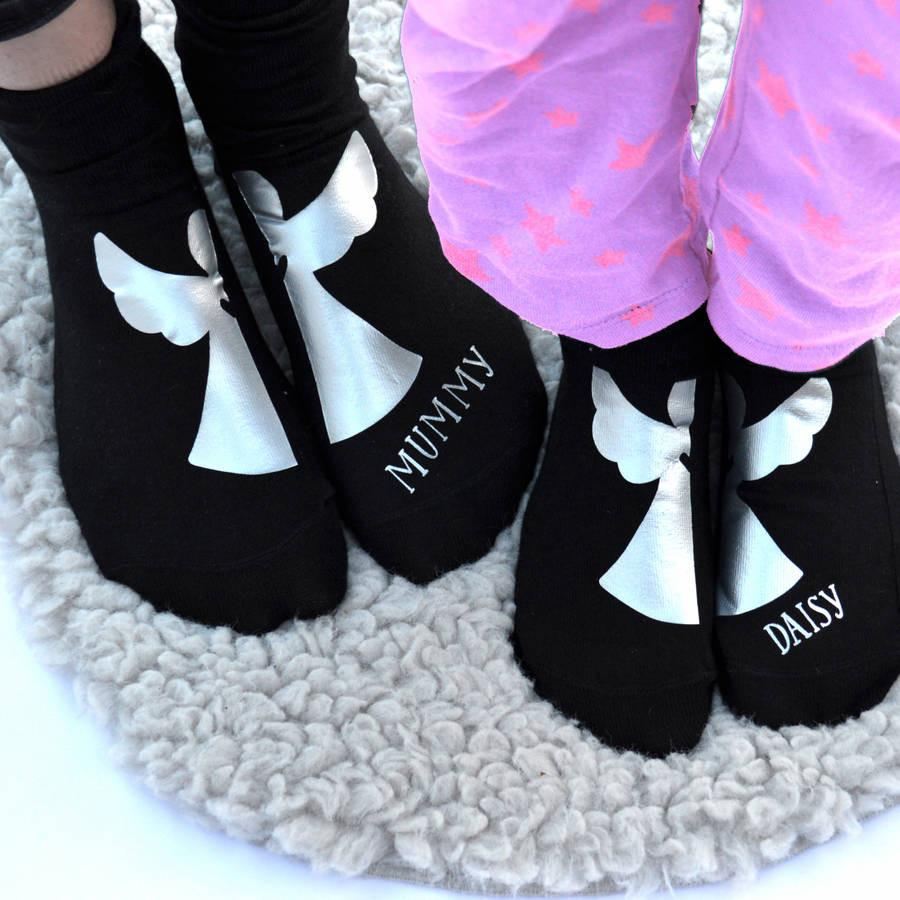Personalised Mummy And Me Matching Angel Socks, socks, - ALPHS