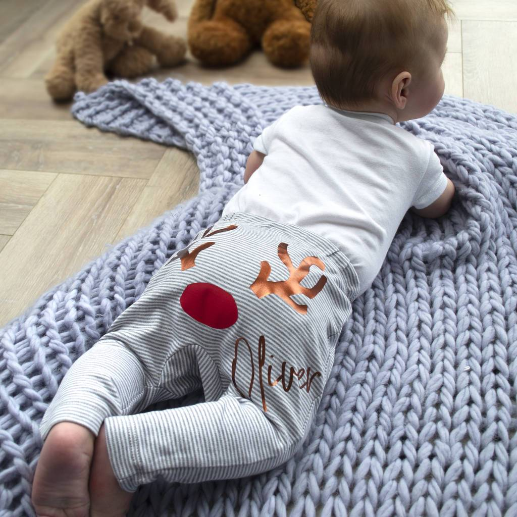 Personalised First Christmas Reindeer Baby Leggings, Leggings, - ALPHS