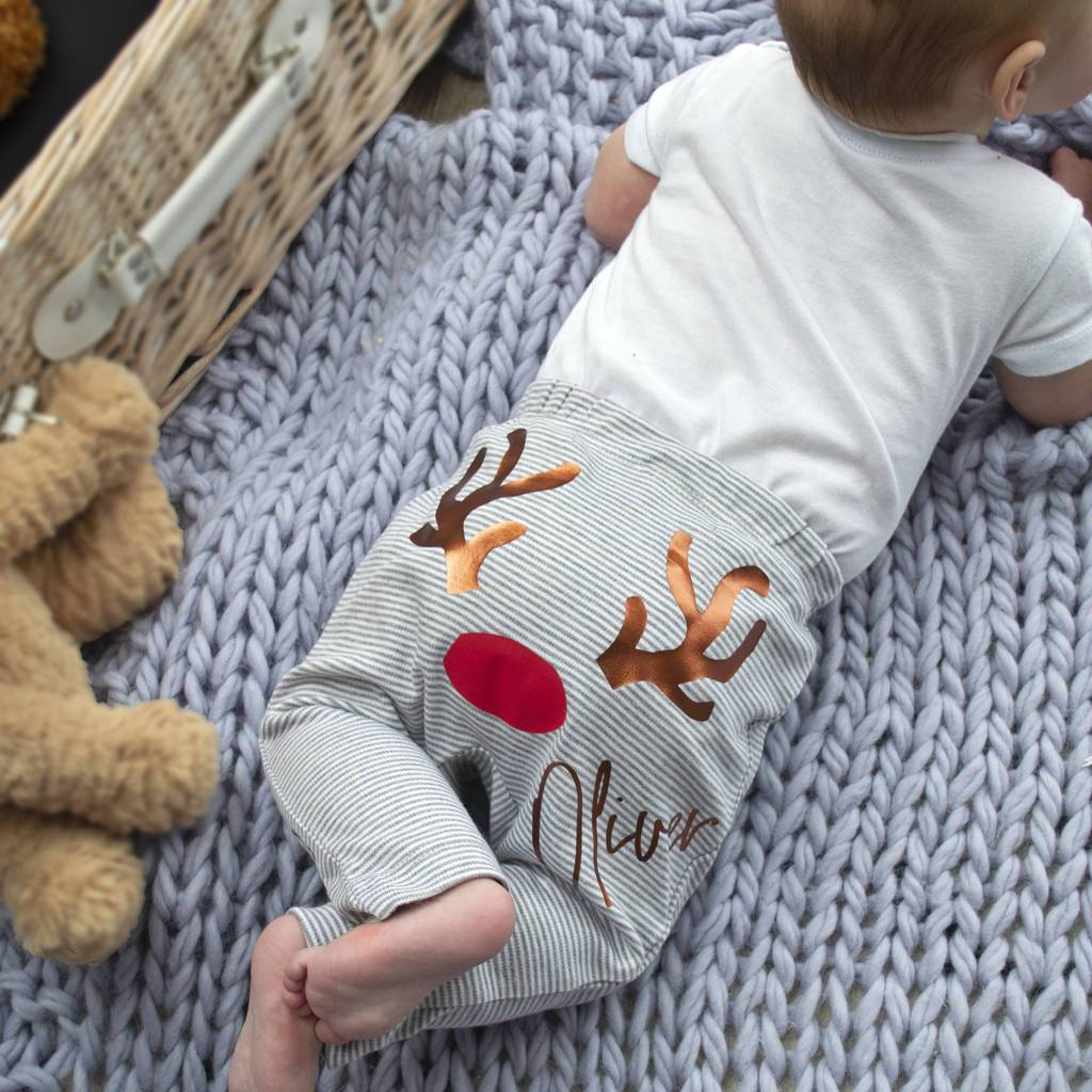 Personalised Reindeer  First Christmas  Baby Leggings, Leggings, - ALPHS