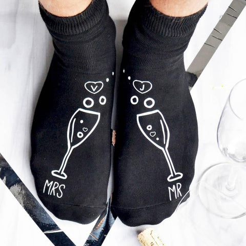 Personalised Gift Socks - Mr And Mrs Champagne - ALPHS