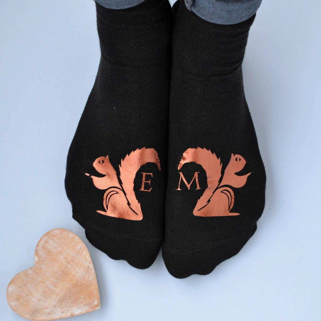 Personalised Gift Animal Socks - Nuts About You Squirrel, Socks, - ALPHS