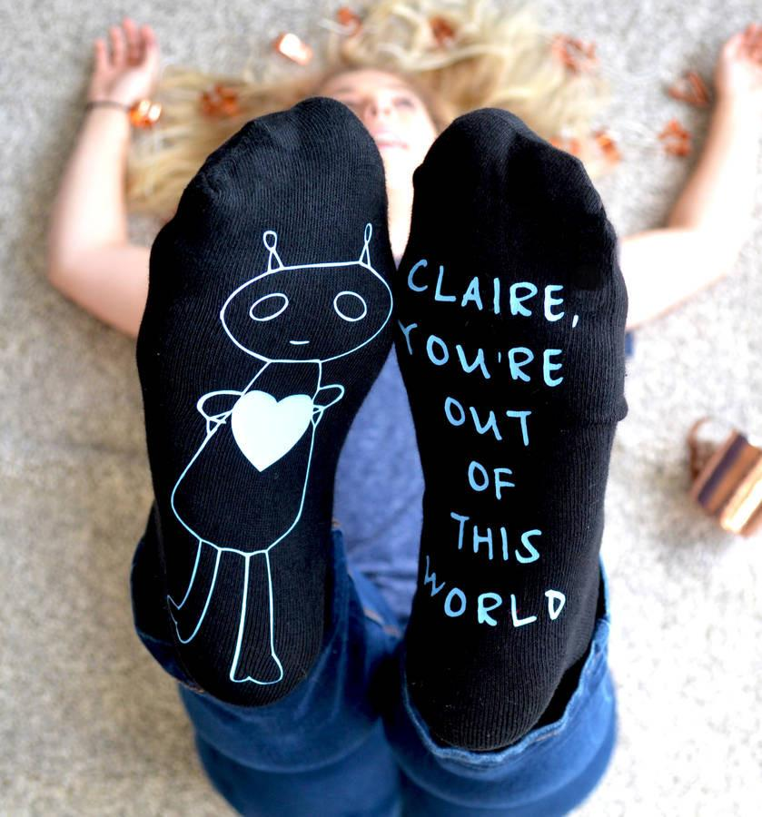 Personalised Gift Socks - Out Of This World Alien, Socks, - ALPHS