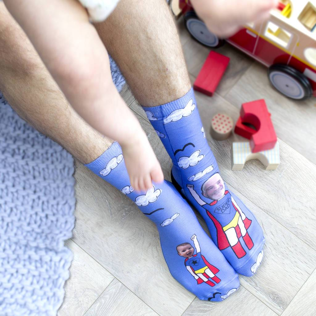 Personalised Super Dad Photo Socks