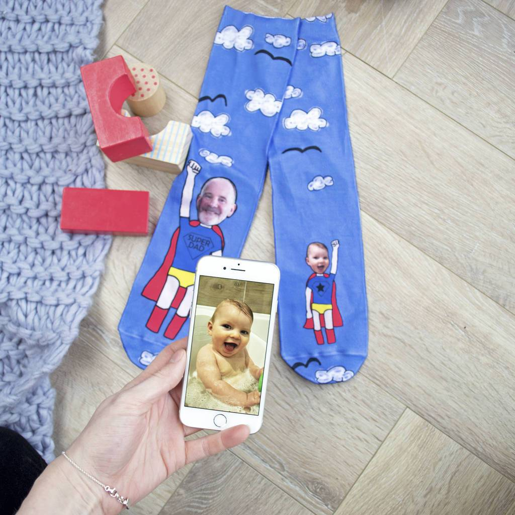 Personalised Super Dad Photo Socks, Photo Socks, - ALPHS