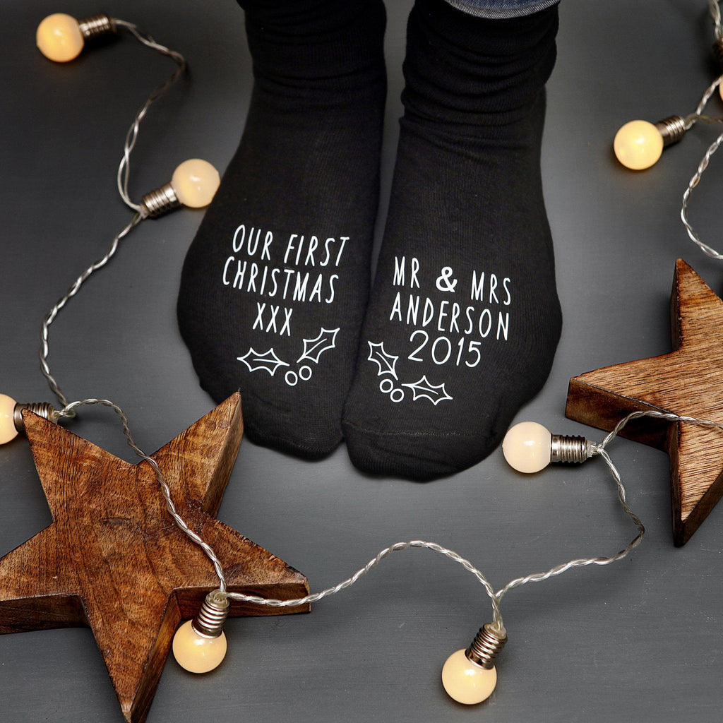 Couple's First Christmas Personalised Socks, socks, - ALPHS