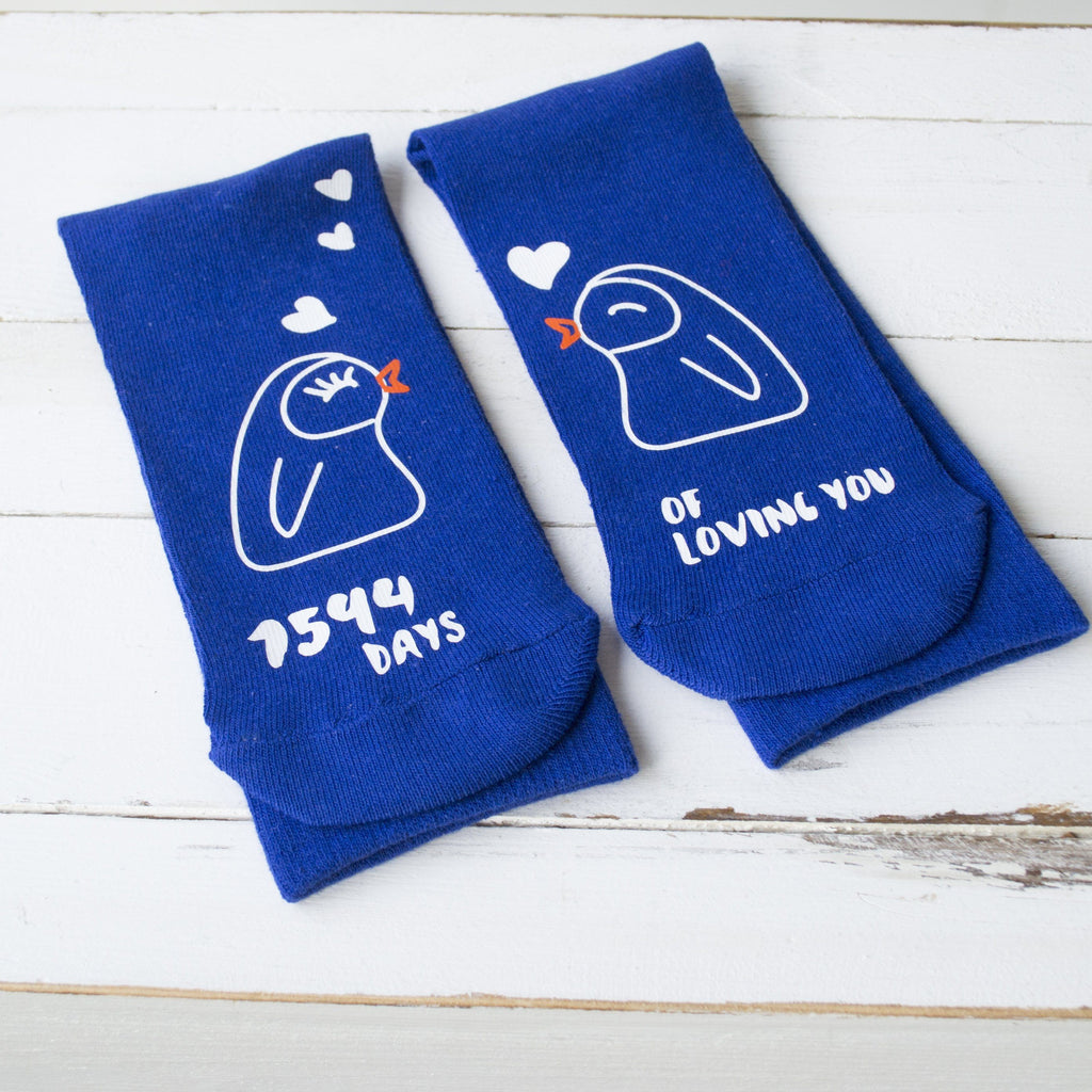 Personalised Days Of Loving You Penguin Socks, Socks, - ALPHS