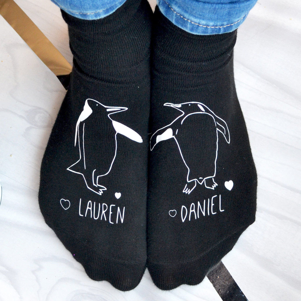 Personalised Gift Socks - Penguins In Love, socks, - ALPHS