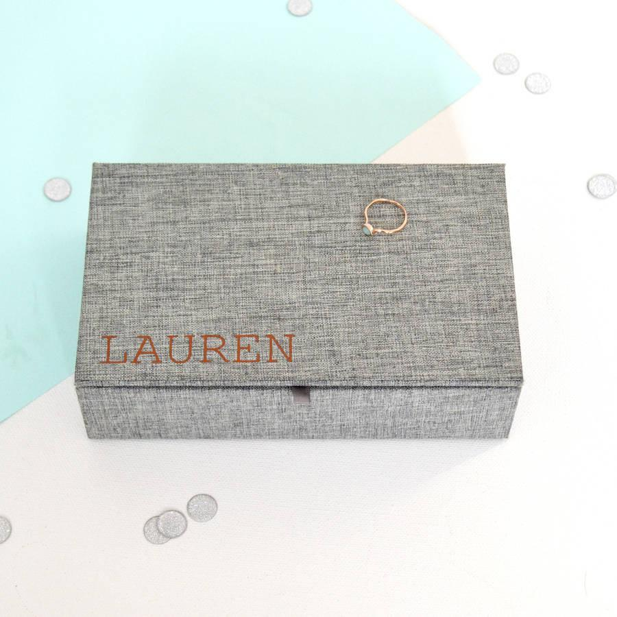 Personalised Fabric Jewellery Box, jewellery box, - ALPHS