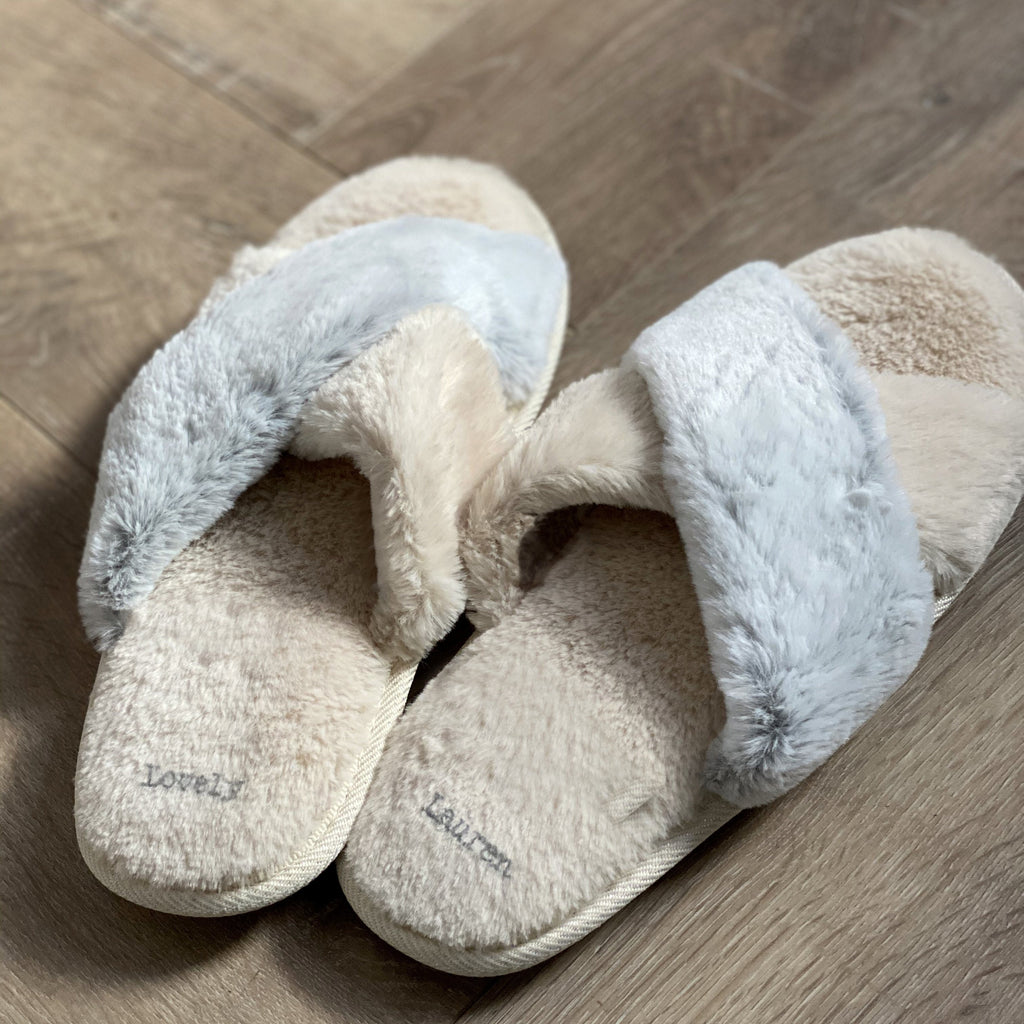Personalised Furry Snuggle Sliders (aka summer slippers), slippers, - ALPHS