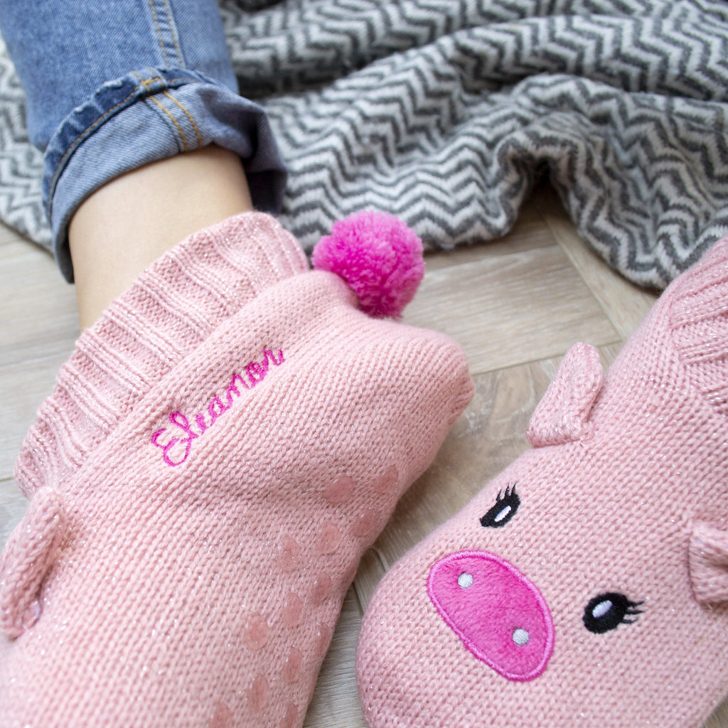 Personalised Glitter Pig Bootie Slippers, slippers, - ALPHS