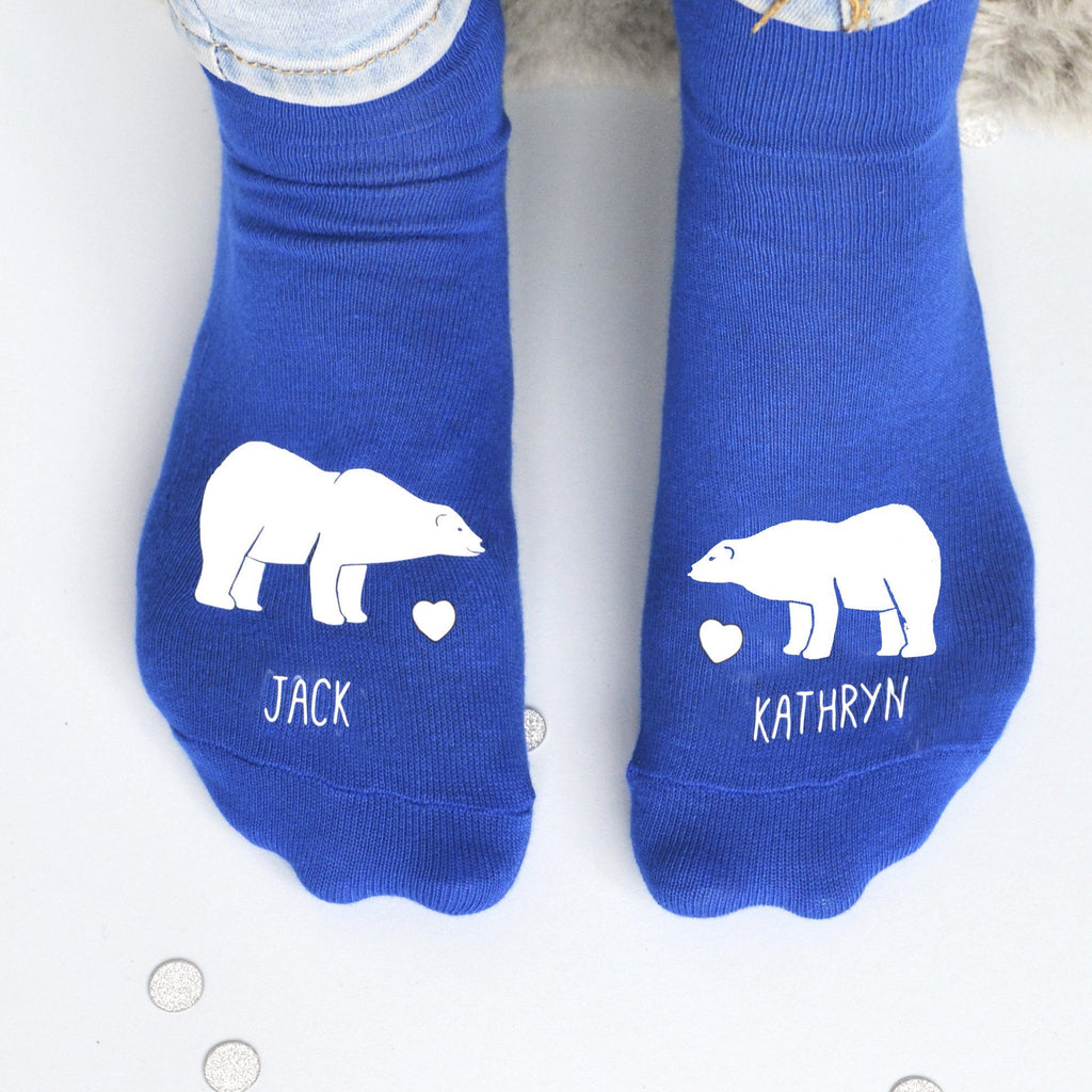 Personalised Gift Animal Socks - Polar Bears in Love, socks, - ALPHS