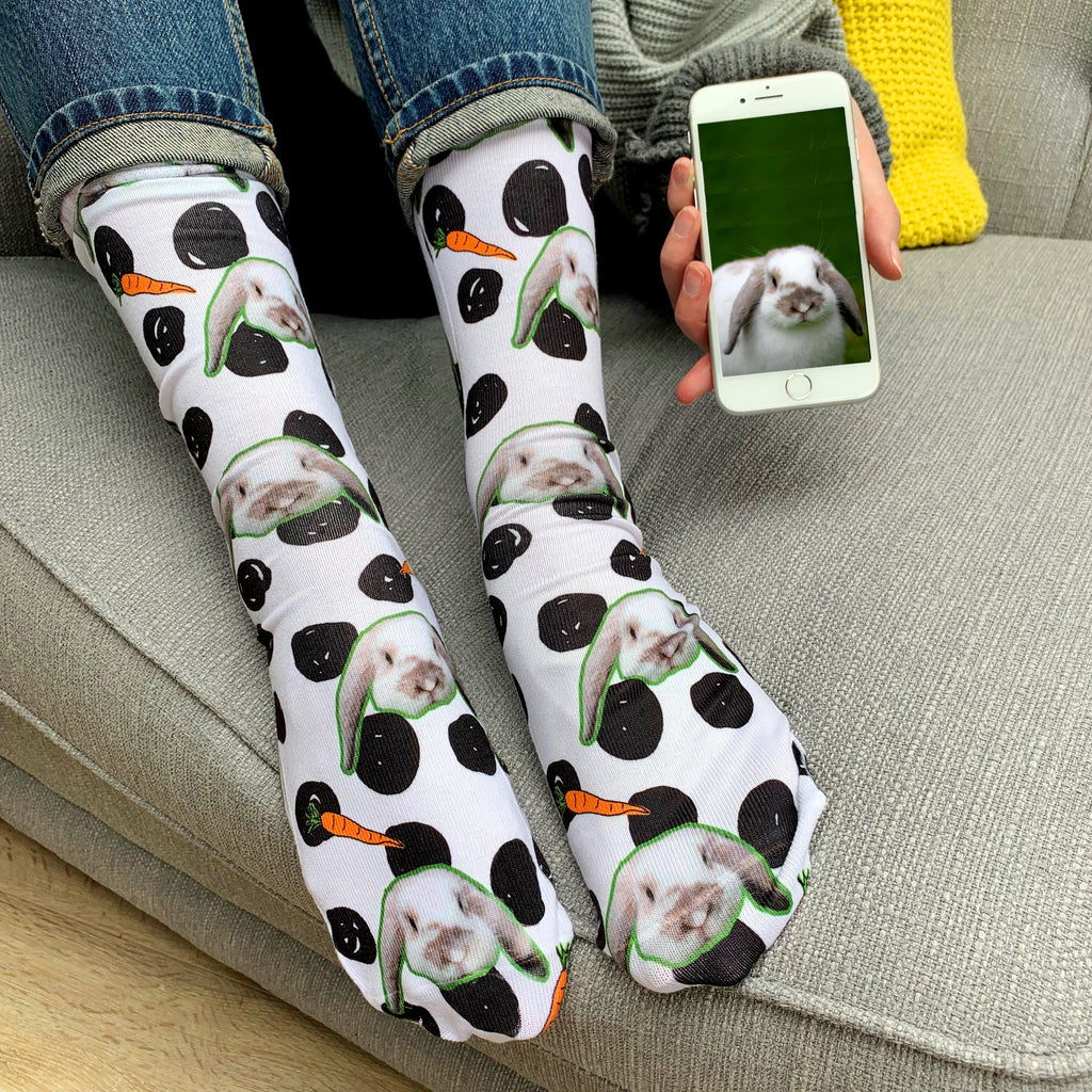 Personalised Rabbit Pet Photo Socks, Socks, - ALPHS