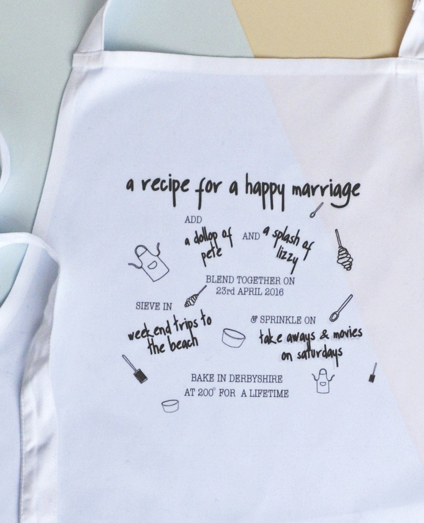 Personalised Recipe For Happy Marriage Apron, apron, - ALPHS