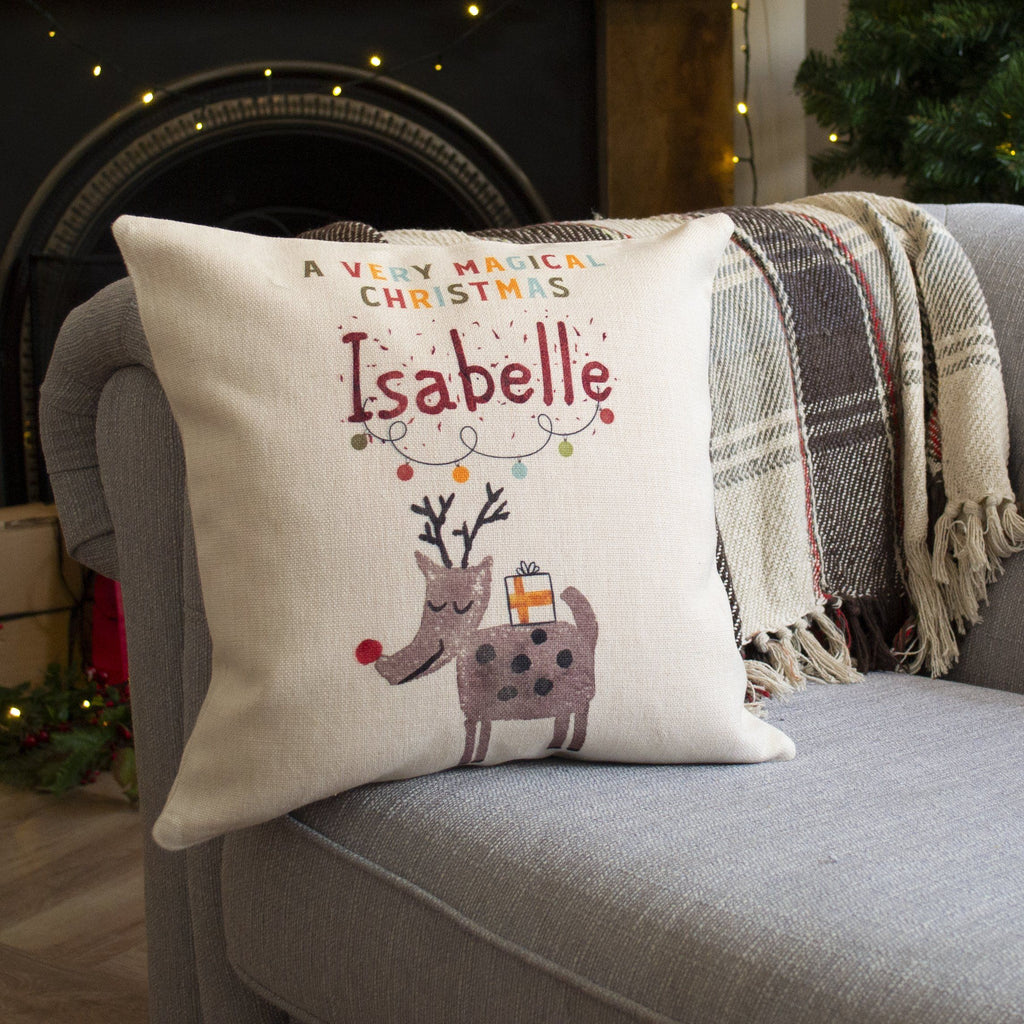 Personalised Magical Christmas Reindeer Cushion, cushion, - ALPHS