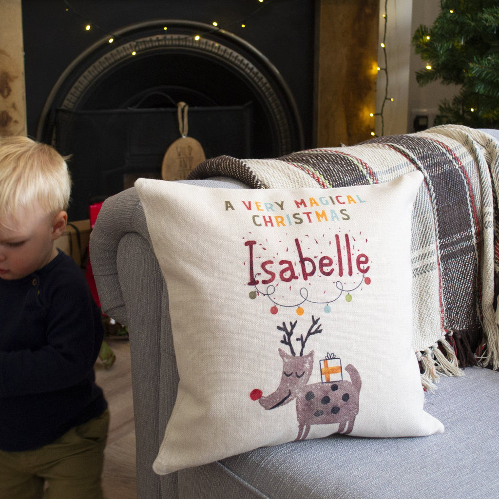 Personalised Magical Christmas Reindeer Cushion