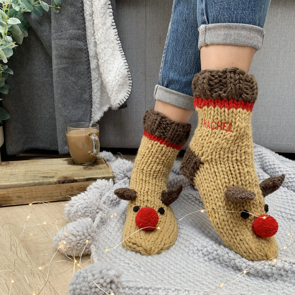 Personalised Embroidered Hand Knitted Reindeer Socks, , - ALPHS