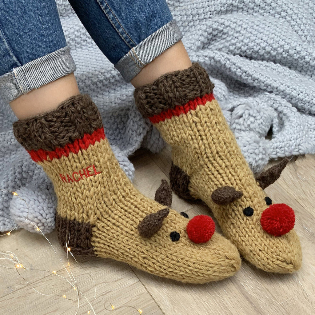 Personalised Embroidered Hand Knitted Reindeer Socks