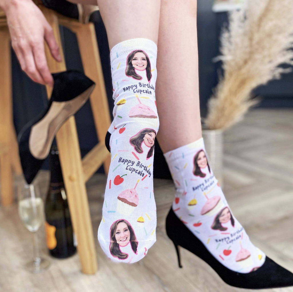Personalised Cupcake Birthday Photo Socks, Photo Socks, - ALPHS
